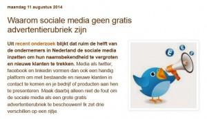 Sociale media zijn geen advertentierubriek